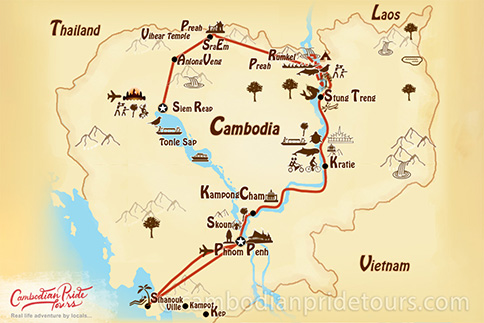 13-Day Cambodia Soft Adventure Tour Map