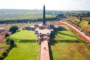 Aerial view Vimean Pi Tnu Memorial Kampuchean United front for National Salvation Monument