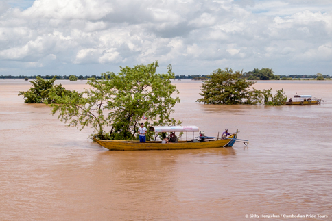 Dolphin watching boat in flooded forests