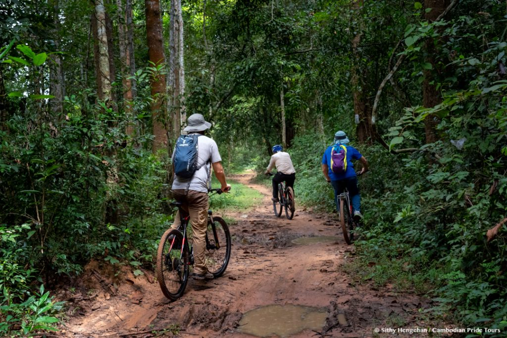 Cycling through rain forests in Angkor temple complex
