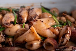 Fried octopus with green pepper