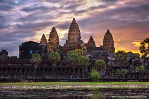 Sunrise mysterious towers of ancient Angkor Wat