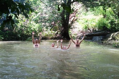 Swimming in the river in forests