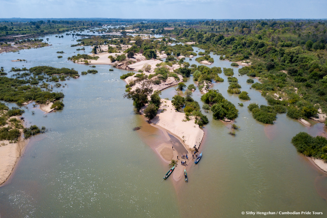 Aerial view Mekong tropical islands during the dry season