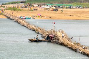 Bamboo bridge across the Mekong from Kampong Cham to Koh Pen