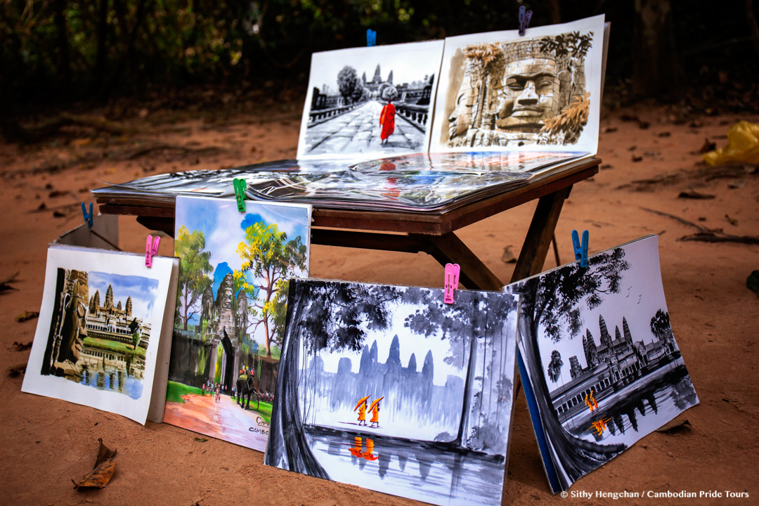 Beautiful painting for sale in Angkor Temple