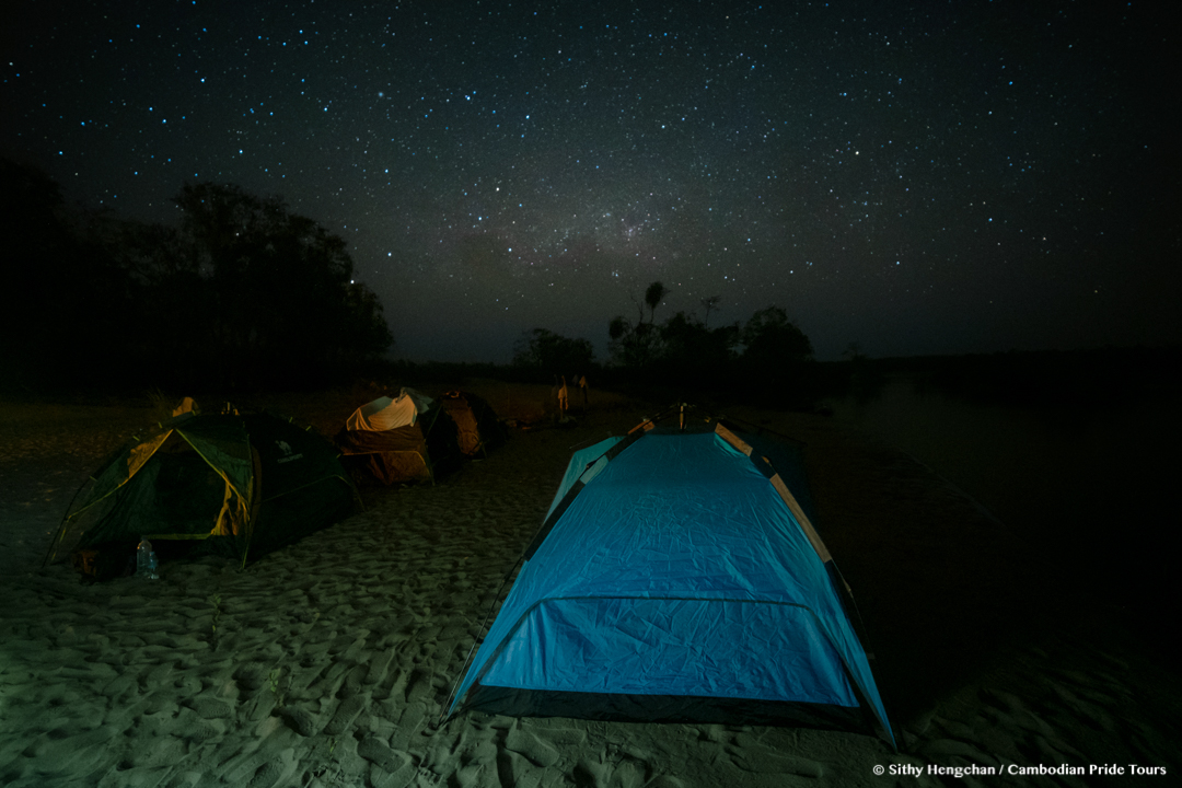 Camping on the Mekong beach under the stars and milky way
