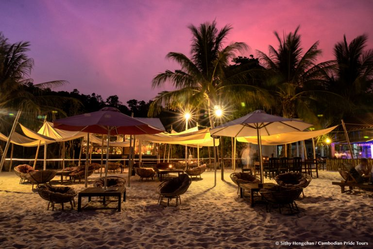 Evening with sunset on the beach of Koh Rong