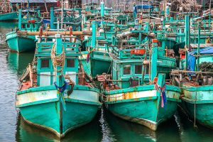 Fishing boats on Cambodian coast Tomnop Rolok
